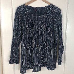 Lucky Brand Smocked Navy LS Top 2X
